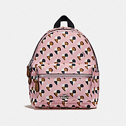 COACH F25915 - MINI CHARLIE BACKPACK WITH CHECKER HEART PRINT SILVER/BLUSH MULTI