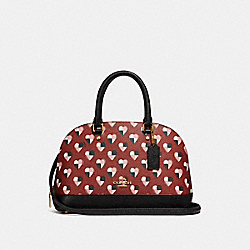 MINI SIERRA SATCHEL WITH CHECKER HEART PRINT - f25916 - TERRACOTTA MULTI/LIGHT GOLD