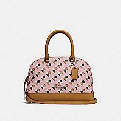 MINI SIERRA SATCHEL WITH CHECKER HEART PRINT - f25916 - SILVER/BLUSH MULTI