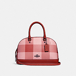 MINI SIERRA SATCHEL WITH BUFFALO PLAID PRINT - f25918 - BLUSH MULTI/BLACK ANTIQUE NICKEL