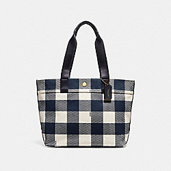 COACH F25919 Tote With Buffalo Plaid Print MIDNIGHT MULTI/LIGHT GOLD