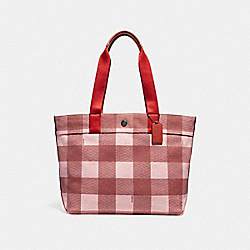 COACH F25919 Tote With Buffalo Plaid Print BLUSH MULTI/BLACK ANTIQUE NICKEL