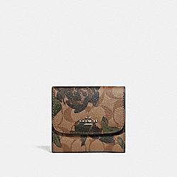 COACH F25930 Small Wallet With Camo Rose Floral Print LIGHT GOLD/KHAKI