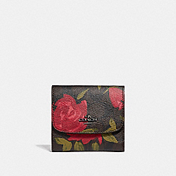 SMALL WALLET WITH CAMO ROSE FLORAL PRINT - f25930 - BLACK ANTIQUE NICKEL/BROWN RED MULTI