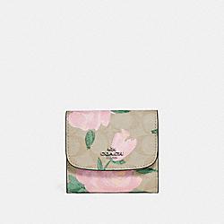 COACH F25930 Small Wallet With Camo Rose Floral Print SILVER/LIGHT KHAKI BLUSH MULTI