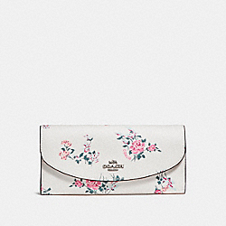 COACH F25932 Slim Envelope Wallet With Cross Stitch Floral Print SILVER/CHALK MULTI