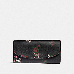 COACH F25932 Slim Envelope Wallet With Cross Stitch Floral Print SILVER/BLACK MULTI
