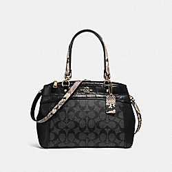 MINI BROOKE CARRYALL - f25935 - LIGHT GOLD/BLACK SMOKE BLACK MULTI