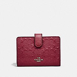 COACH F25937 Medium Corner Zip Wallet In Signature Leather CHERRY /LIGHT GOLD