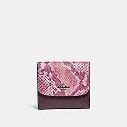 SMALL WALLET - f25938 - LIGHT GOLD/OXBLOOD MULTI