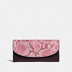 SLIM ENVELOPE WALLET - f25939 - LIGHT GOLD/OXBLOOD MULTI