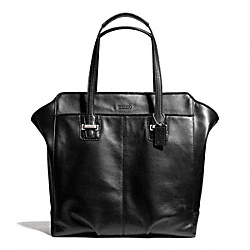 TAYLOR LEATHER NORTH/SOUTH TOTE - f25941 - SILVER/BLACK