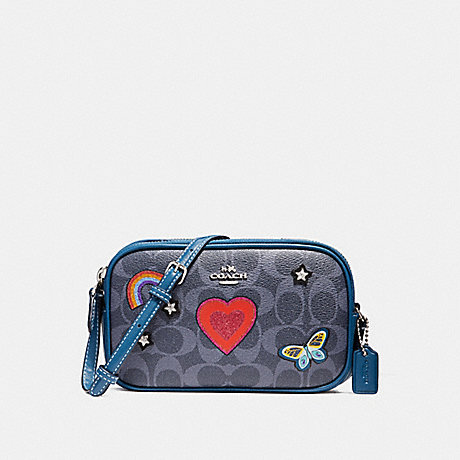 76564df07b COACH f25950 CROSSBODY POUCH IN SIGNATURE CANVAS WITH SOUVENIR EMBROIDERY  SILVER DENIM