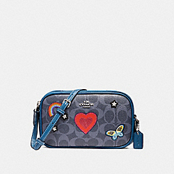 COACH CROSSBODY POUCH IN SIGNATURE CANVAS WITH SOUVENIR EMBROIDERY - SILVER/DENIM - F25950
