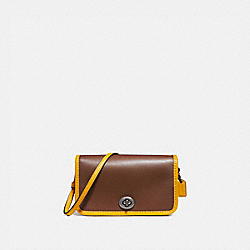 COACH F25951 Micro Penny Crossbody SADDLE 2/CANARY/BLACK ANTIQUE NICKEL