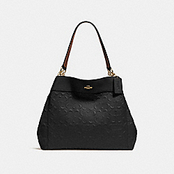 LEXY SHOULDER BAG IN SIGNATURE LEATHER - f25954 - BLACK/light gold