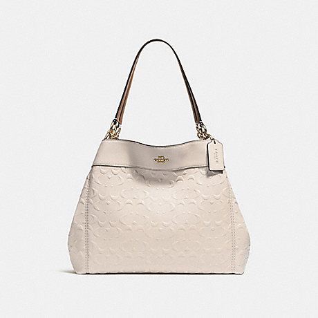 COACH f25954 LEXY SHOULDER BAG IN SIGNATURE LEATHER CHALK/LIGHT GOLD