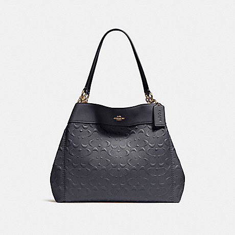 COACH f25954 LEXY SHOULDER BAG IN SIGNATURE LEATHER MIDNIGHT/LIGHT GOLD