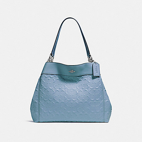 COACH f25954 LEXY SHOULDER BAG IN SIGNATURE LEATHER SILVER/POOL