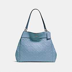 LEXY SHOULDER BAG IN SIGNATURE LEATHER - f25954 - SILVER/POOL