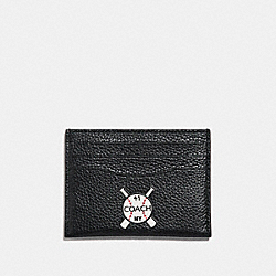 SLIM CARD CASE WITH MIXED PATCHES - f25955 - BLACK