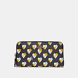 COACH F25962 Accordion Zip Wallet With Checker Heart Print MIDNIGHT MULTI/LIGHT GOLD