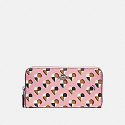 COACH F25962 Accordion Zip Wallet With Checker Heart Print SILVER/BLUSH MULTI