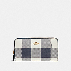 COACH F25966 Accordion Zip Wallet With Buffalo Plaid Print MIDNIGHT MULTI/LIGHT GOLD