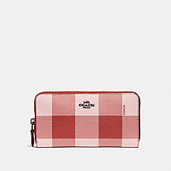 COACH F25966 Accordion Zip Wallet With Buffalo Plaid Print BLUSH MULTI/BLACK ANTIQUE NICKEL