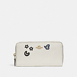 COACH F25969 Accordion Zip Wallet With Souvenir Embroidery CHALK/LIGHT GOLD