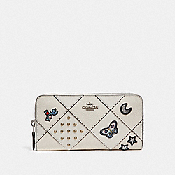 ACCORDION ZIP WALLET WITH PATCHWORK EMBROIDERY - f25970 - SILVER/CHALK