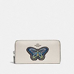 ACCORDION ZIP WALLET WITH BUTTERFLY EMBROIDERY - f25971 - SILVER/CHALK