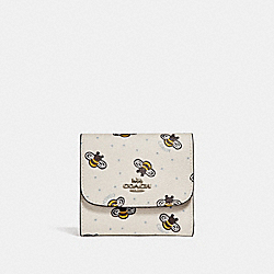 COACH F25972 Small Wallet With Bee Print CHALK MULTI/SILVER