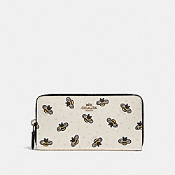 COACH F25973 Accordion Zip Wallet With Bee Print CHALK MULTI/SILVER