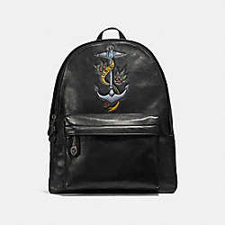COACH F25977 Campus Backpack With Tattoo Tooling BLACK/BLACK ANTIQUE NICKEL