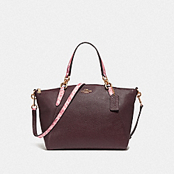 SMALL KELSEY SATCHEL - f25979 - LIGHT GOLD/OXBLOOD MULTI