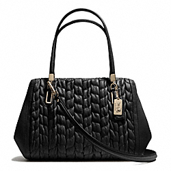 COACH F25985 - MADISON GATHERED CHEVRON LEATHER MADELINE EAST/WEST SATCHEL LIGHT GOLD/BLACK
