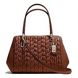 COACH F25985 Madison Gathered Chevron Leather Madeline East/west Satchel LIGHT GOLD/CHESTNUT