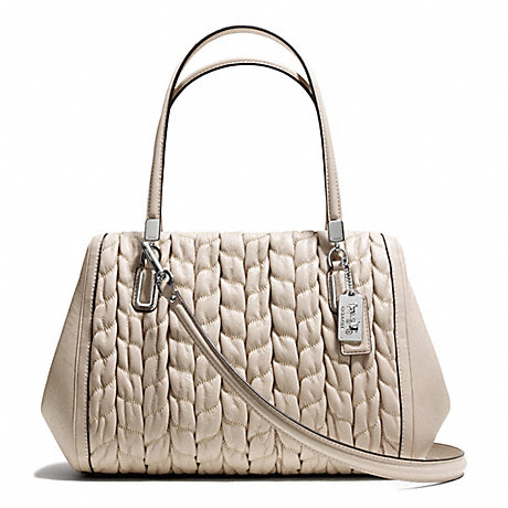 COACH F25985 MADISON GATHERED CHEVRON LEATHER MADELINE EAST/WEST SATCHEL SILVER/PUTTY