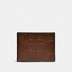 COACH F26003 Slim Billfold Wallet In Signature Leather SADDLE