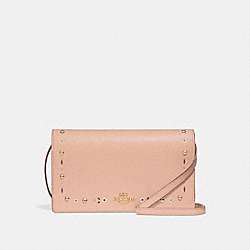 COACH F26007 - FOLDOVER CROSSBODY CLUTCH WITH FLORAL TOOLING NUDE PINK/LIGHT GOLD