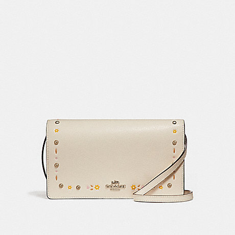 COACH f26007 FOLDOVER CROSSBODY CLUTCH WITH FLORAL TOOLING SILVER/CHALK