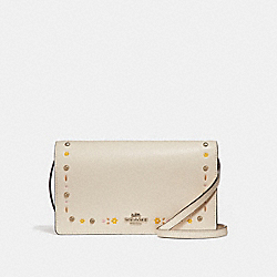 COACH F26007 - FOLDOVER CROSSBODY CLUTCH WITH FLORAL TOOLING SILVER/CHALK