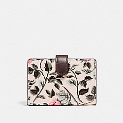 MEDIUM CORNER ZIP WALLET WITH SLEEPING ROSE PRINT - f26017 - SILVER/MULTI