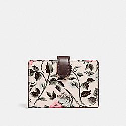 COACH F26017 Medium Corner Zip Wallet With Sleeping Rose Print SILVER/MULTI