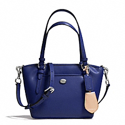 COACH F26029 - PEYTON LEATHER MINI POCKET TOTE SILVER/NAVY