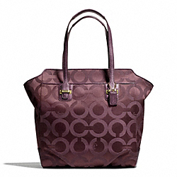 TAYLOR OP ART NORTH/SOUTH TOTE - f26031 - BRASS/BORDEAUX