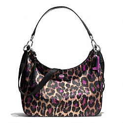 COACH F26033 Signature Stripe Ocelot Print Convertible Hobo