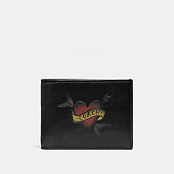 SLIM BILLFOLD WALLET WITH TATTOO - F26057 - BLACK