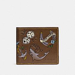 COACH F26058 Double Billfold Wallet With Tattoo SADDLE